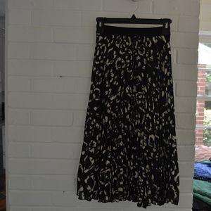 H&M Midi Pleated Skirt with Animal Print